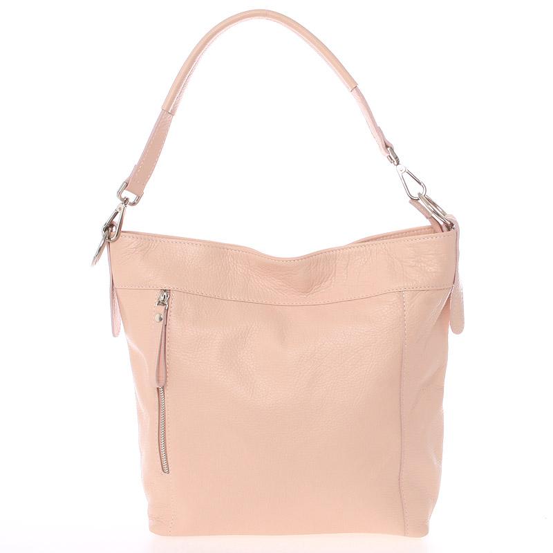 Módní dámská kožená kabelka světle růžová - ItalY Margareta růžová