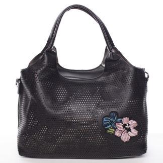 Moderní dámská černá perforovaná kabelka - Maria C Melaney černá