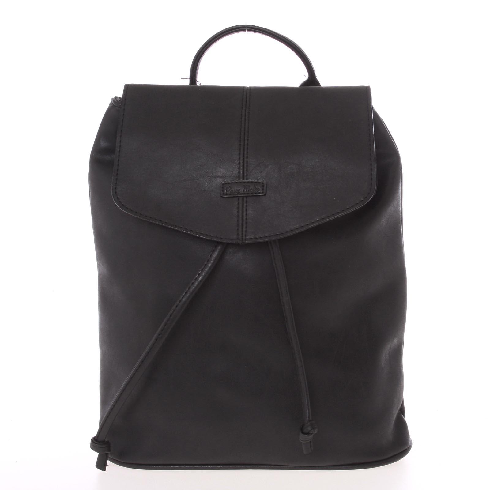 Kvalitní elegantní dámský černý batůžek - Piace Molto Floriant černá