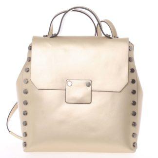 Unikátní zlatý dámský kožený batoh/kabelka - ItalY Nicoletta zlatá