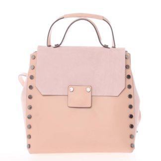 Unikátní růžový dámský kožený batoh/kabelka - ItalY Nicoletta růžová
