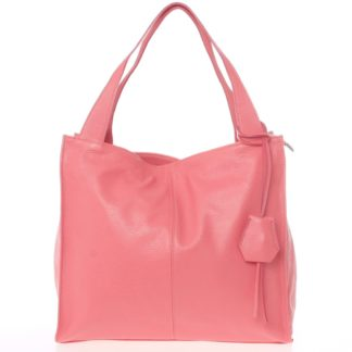 Elegantní růžová kožená kabelka přes rameno - ItalY Nyse růžová