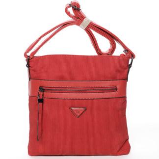 Trendy vroubkovaná crossbody kabelka červená - Delami Raelyn červená