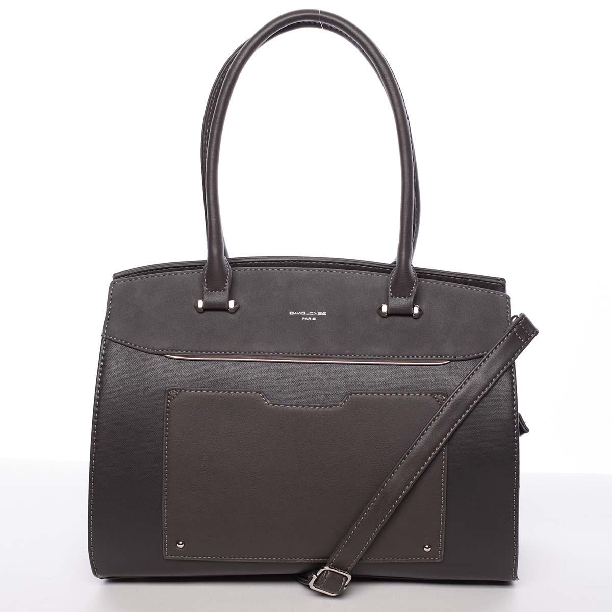 Jedinečná dámská tmavě šedá kabelka - David Jones Hazel šedá