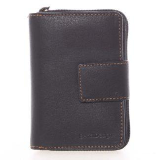 Kvalitní kožená dámská prošívaná peněženka černá - SendiDesign Reta  černá