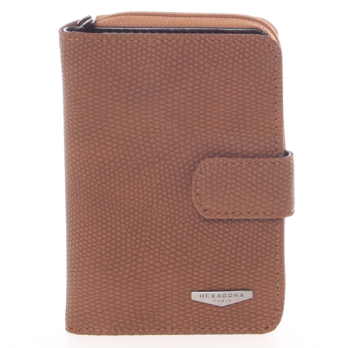 Originální dámská dvoudílná hnědá peněženka - HEXAGONA Reezzi hnědá