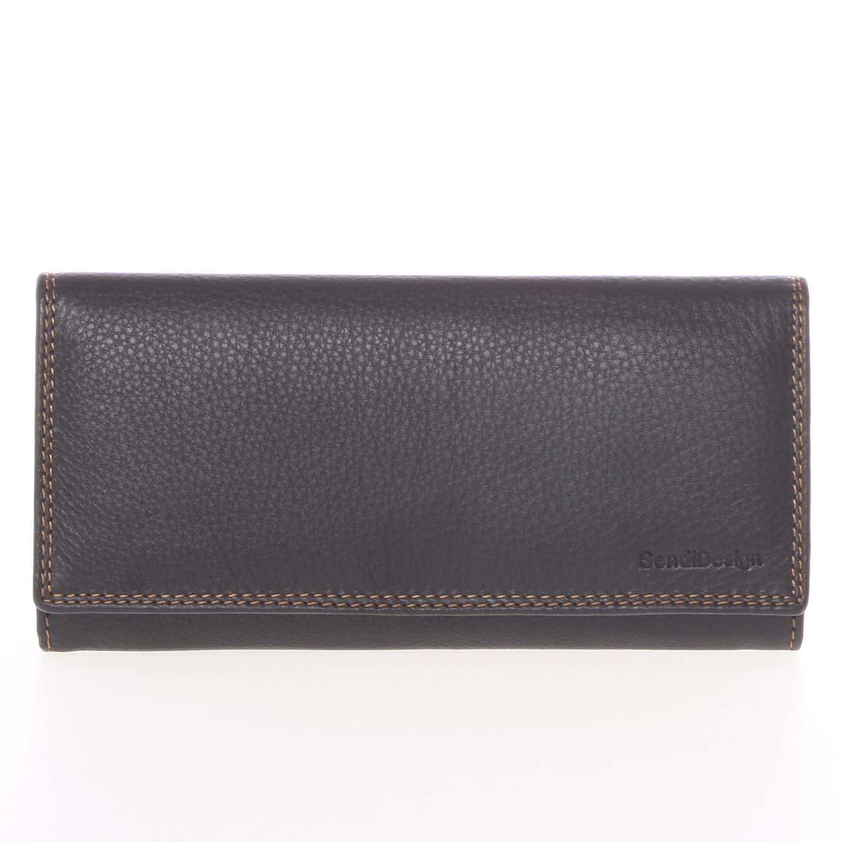 Velká dámská černá kožená prošívaná peněženka - SendiDesign Phylis černá