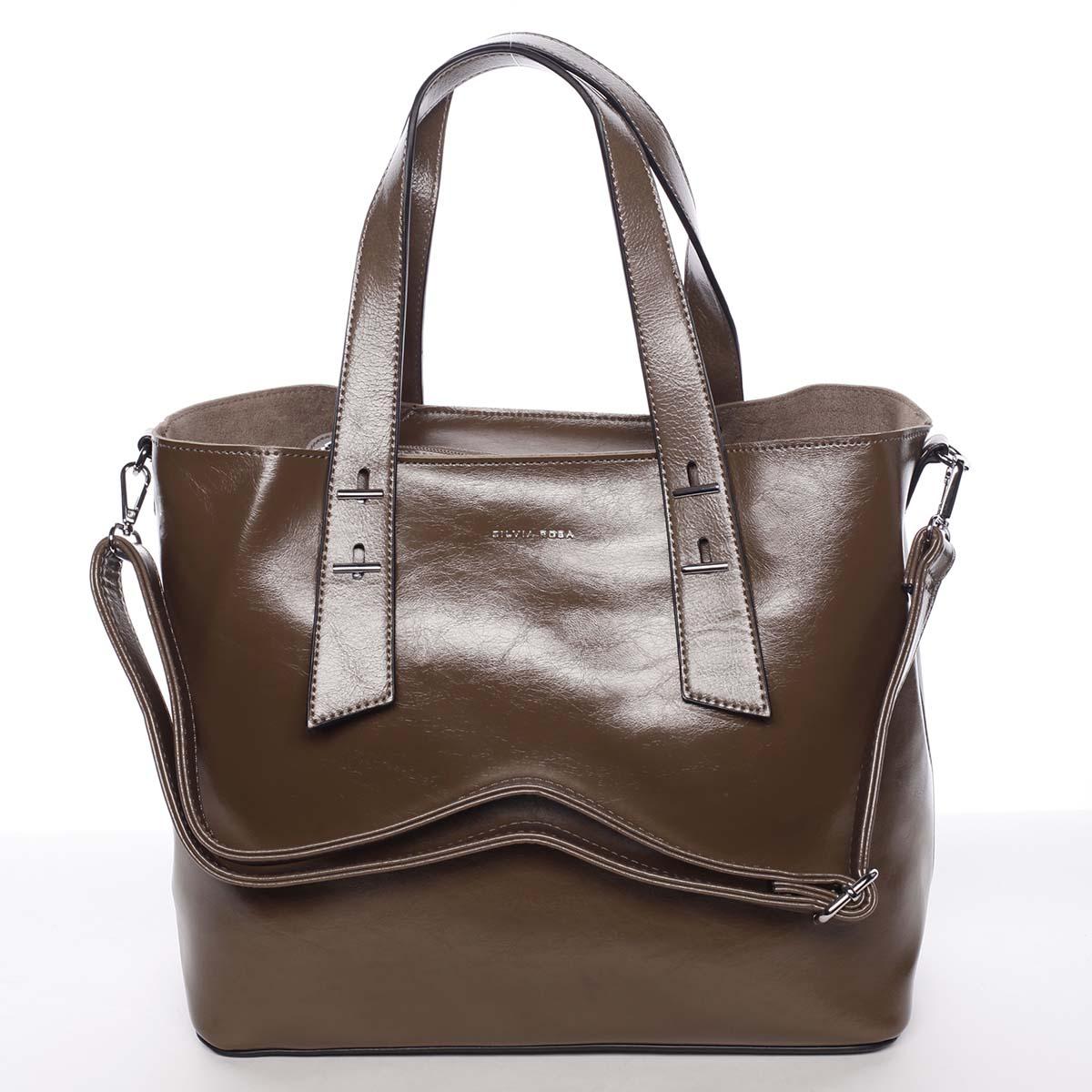 Větší dámská elegantní tmavě hnědá kabelka - Silvia Rosa Selina hnědá