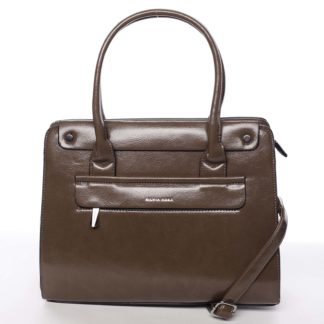 Elegantní pevná dámská kabelka do ruky tmavá taupe - Silvia Rosa Takeon Taupe