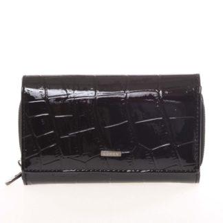 Dámská černá lakovaná kroko peněženka - Loren Cobos černá