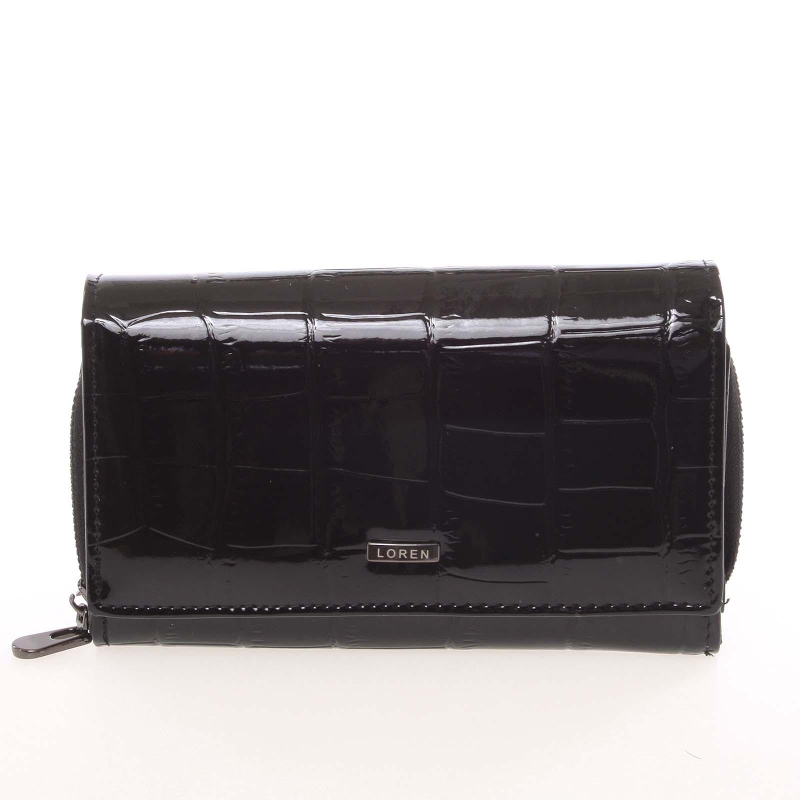 Dámská černá lakovaná kroko peněženka - Loren Cobo černá