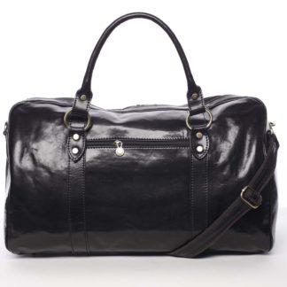 Velká cestovní kožená taška černá - ItalY Equado černá