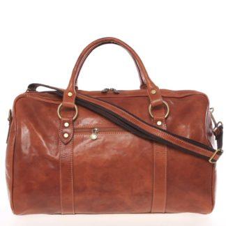 Velká cestovní kožená taška světle hnědá - ItalY Equado hnědá