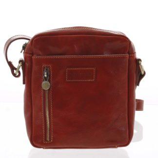 Kvalitní červená kožená pánská taška přes rameno - ItalY Sollis červená