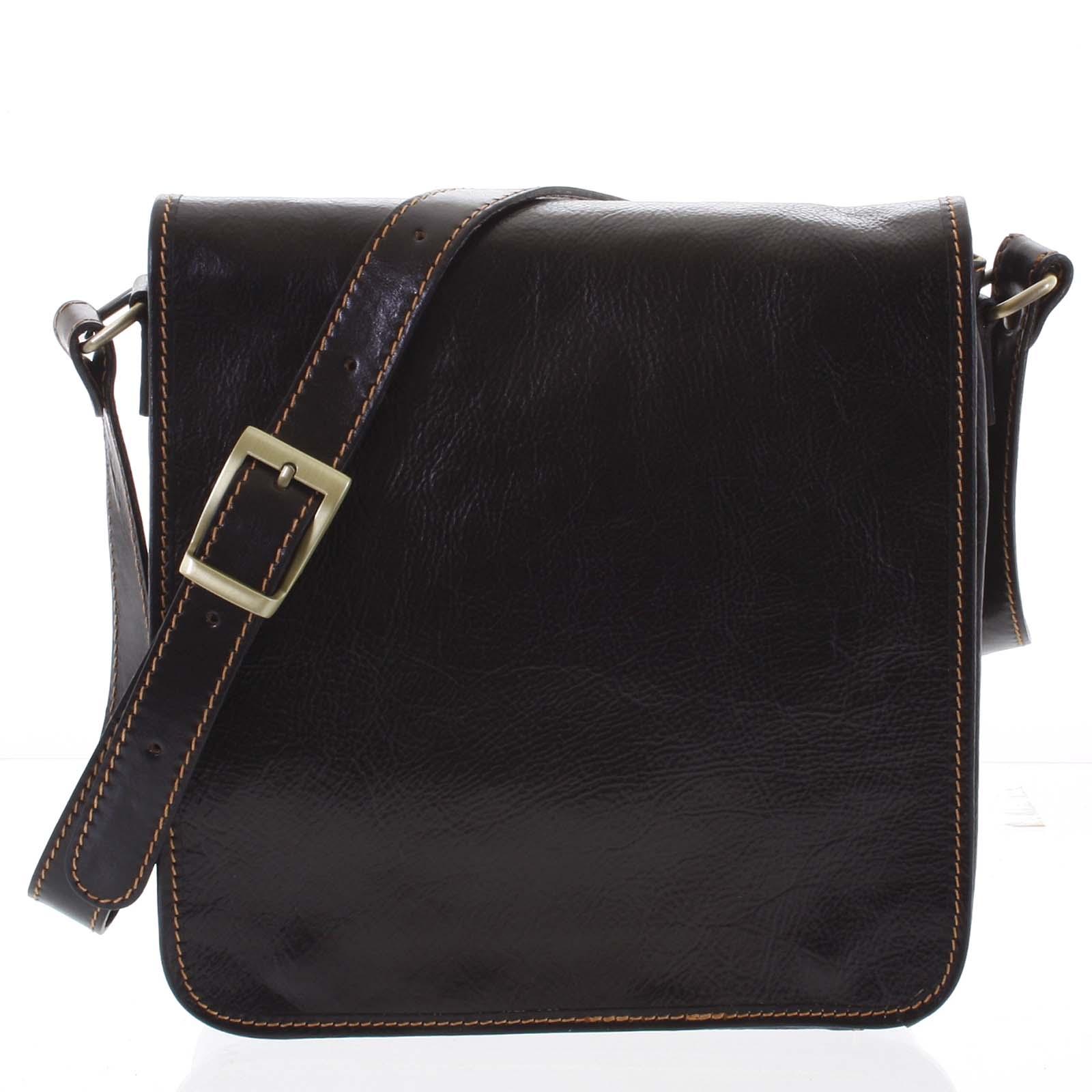 Pánská luxusní kožená taška přes rameno tmavě hnědá - ItalY Jamar hnědá