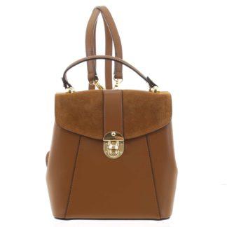 Dámský originální kožený hnědý batůžek/kabelka - ItalY Acnes hnědá