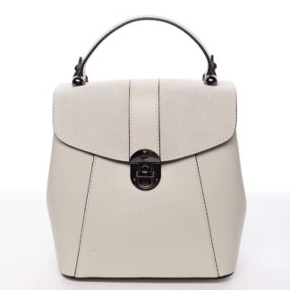 Dámský originální kožený béžový batůžek kabelka - ItalY Acnes béžová