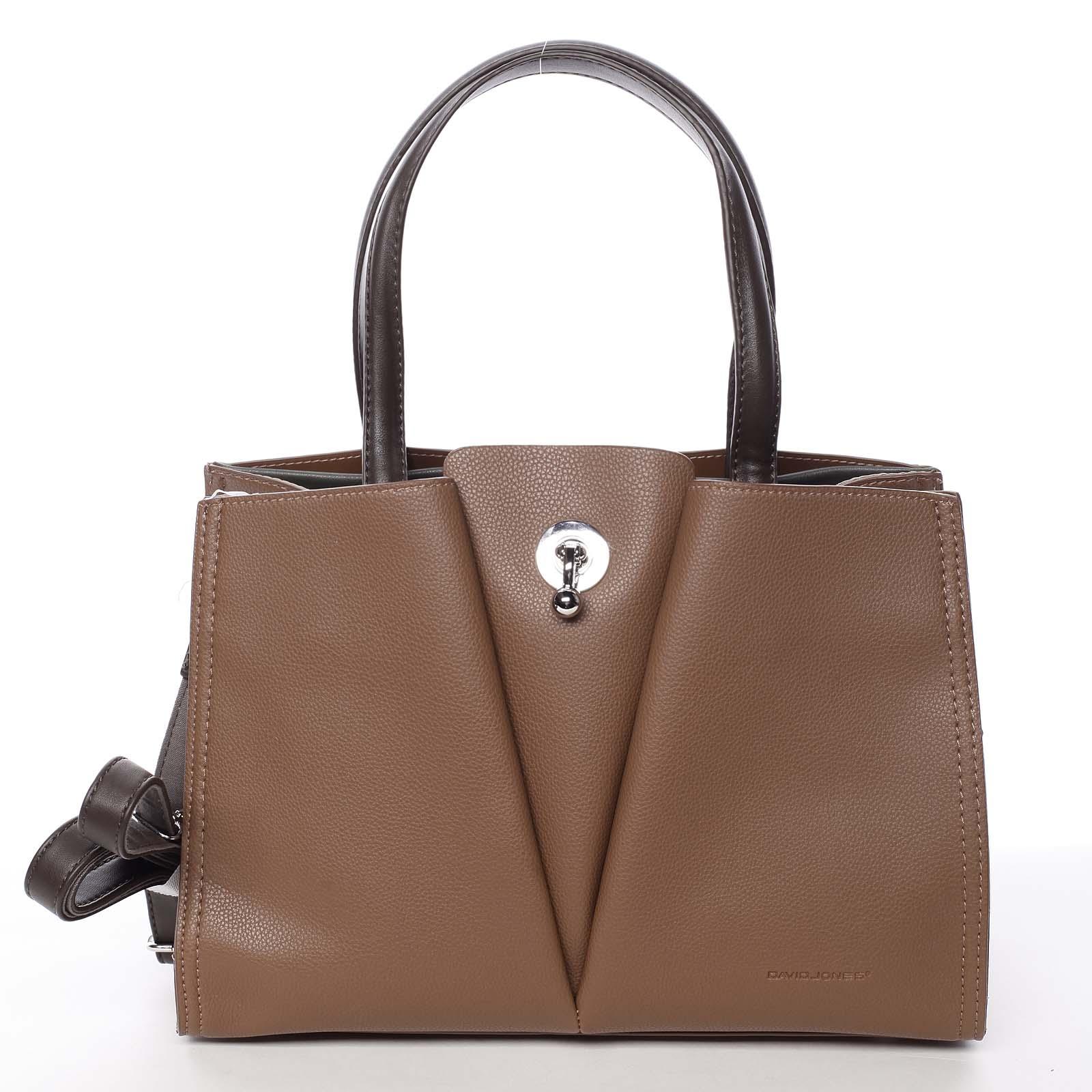 Luxusní dámská hnědá kabelka do ruky - David Jones Aedon hnědá