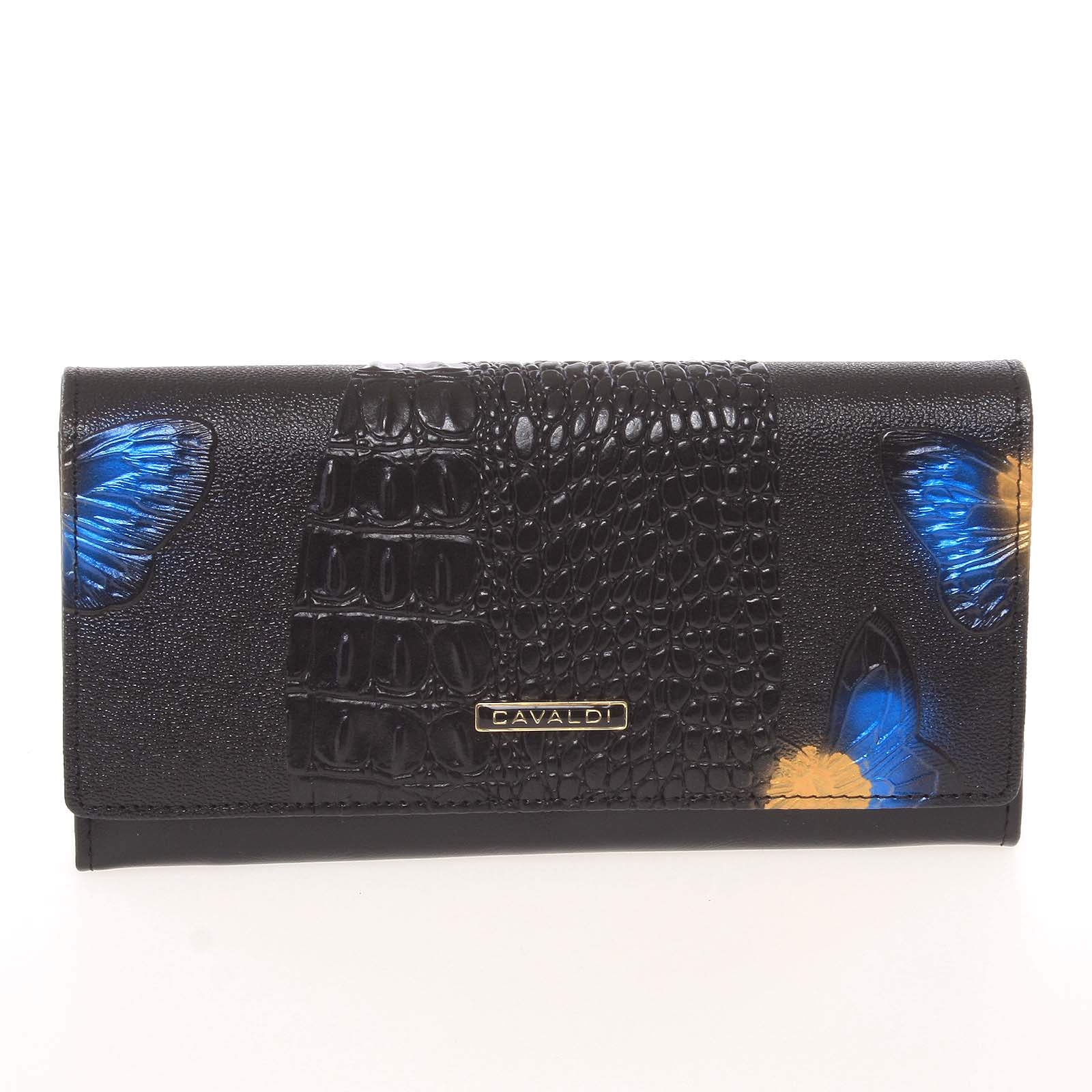 Dámská polokožená modrá peněženka se vzorem - Cavaldi PN22BFC modrá