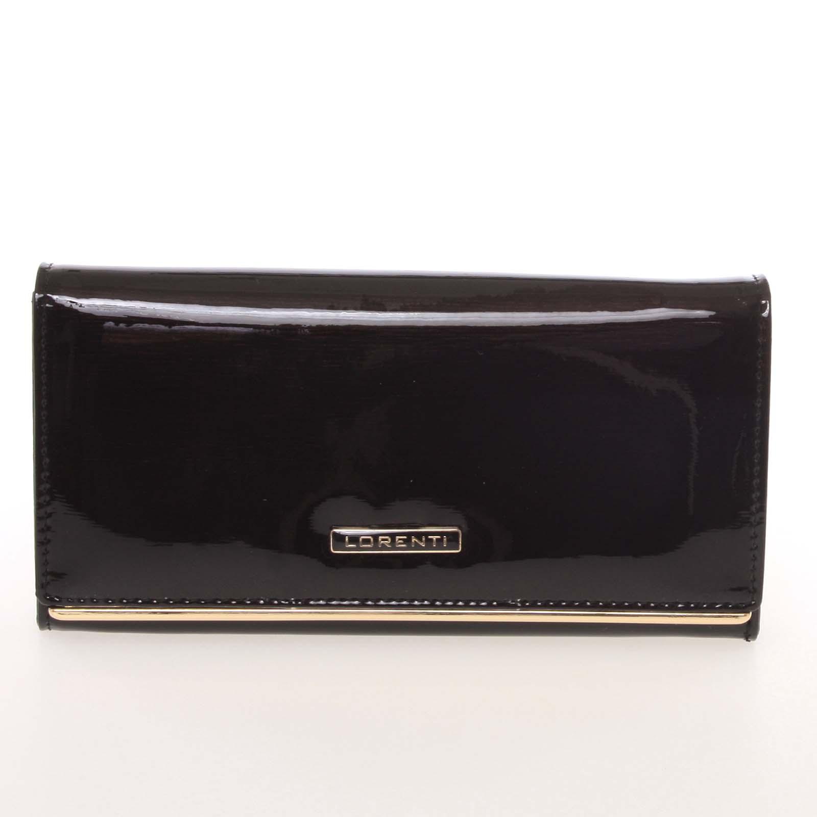 Luxusní lakovaná kožená černá peněženka - Lorenti 64003SH černá