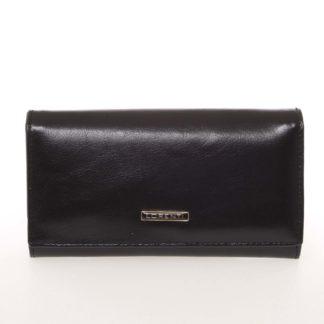 Módní dámská matná kožená peněženka černá - Lorenti GF112SL černá