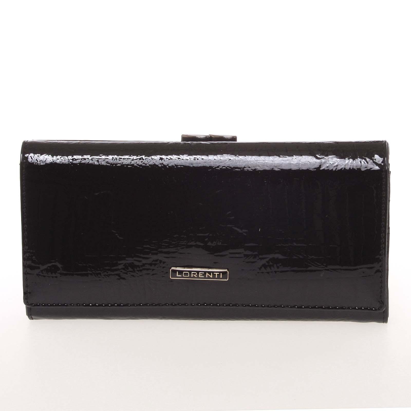 Lakovaná kožená černá peněženka s jemným vzorem - Lorenti 72031RSBF černá