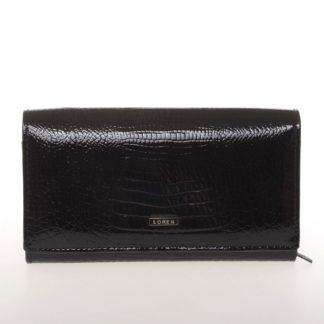 Střední kožená lakovaná dámská peněženka černá - Loren 72035RS černá