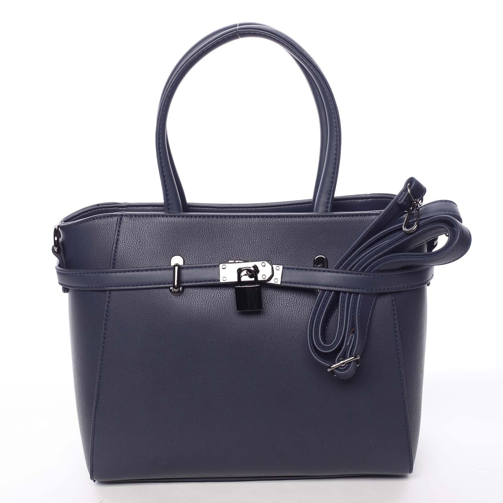 Luxusní stylová menší tmavě modrá kabelka do ruky - David Jones Haless modrá