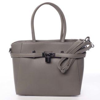 Luxusní stylová menší tmavá taupe kabelka do ruky - David Jones Haless Taupe