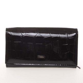 Kožená lakovaná dámská černá peněženka v imitaci krokodýlí kůže - Loren 72035CB černá