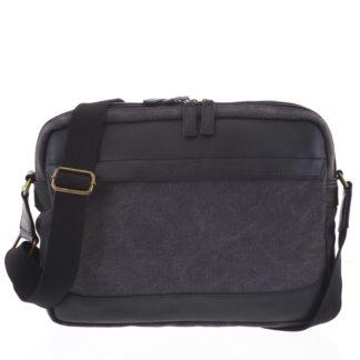 Moderní pánská taška s koženými detaily černá - Gerard Henon Telfor černá