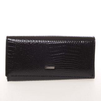 Elegantní lakovaná kožená černá peněženka - Loren 64003RS černá