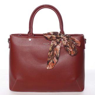 Módní dámská tmavě červená kabelka s mašlí - David Jones Harriet červená