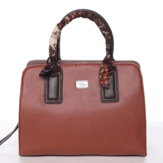 Stylová trendy dámská kabelka do ruky karamelově červená - David Jones Crescent červená