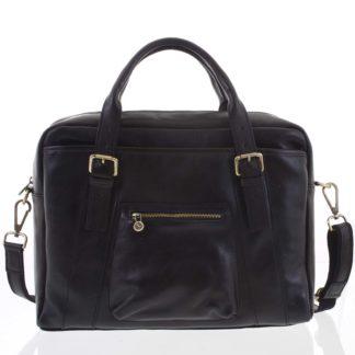 Kožená větší business taška černá - ItalY Fabio černá