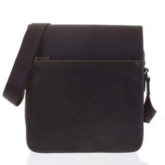 Moderní polokožená kožená taška hnědá - Hexagona Cendrik hnědá