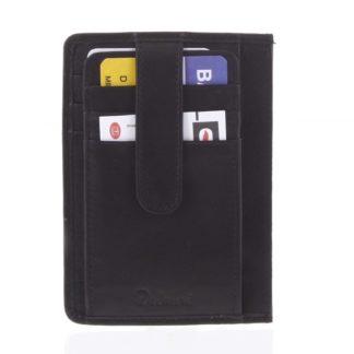 Jednoduchá černá kožená peněženka do kapsy - Delami 9393 černá