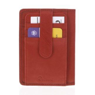 Jednoduchá červená kožená peněženka do kapsy - Delami 9393 červená