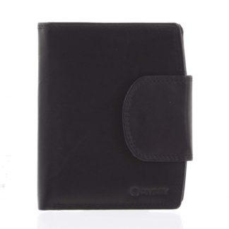Elegantní černá kožená peněženka se zápinkou - Diviley Universit černá
