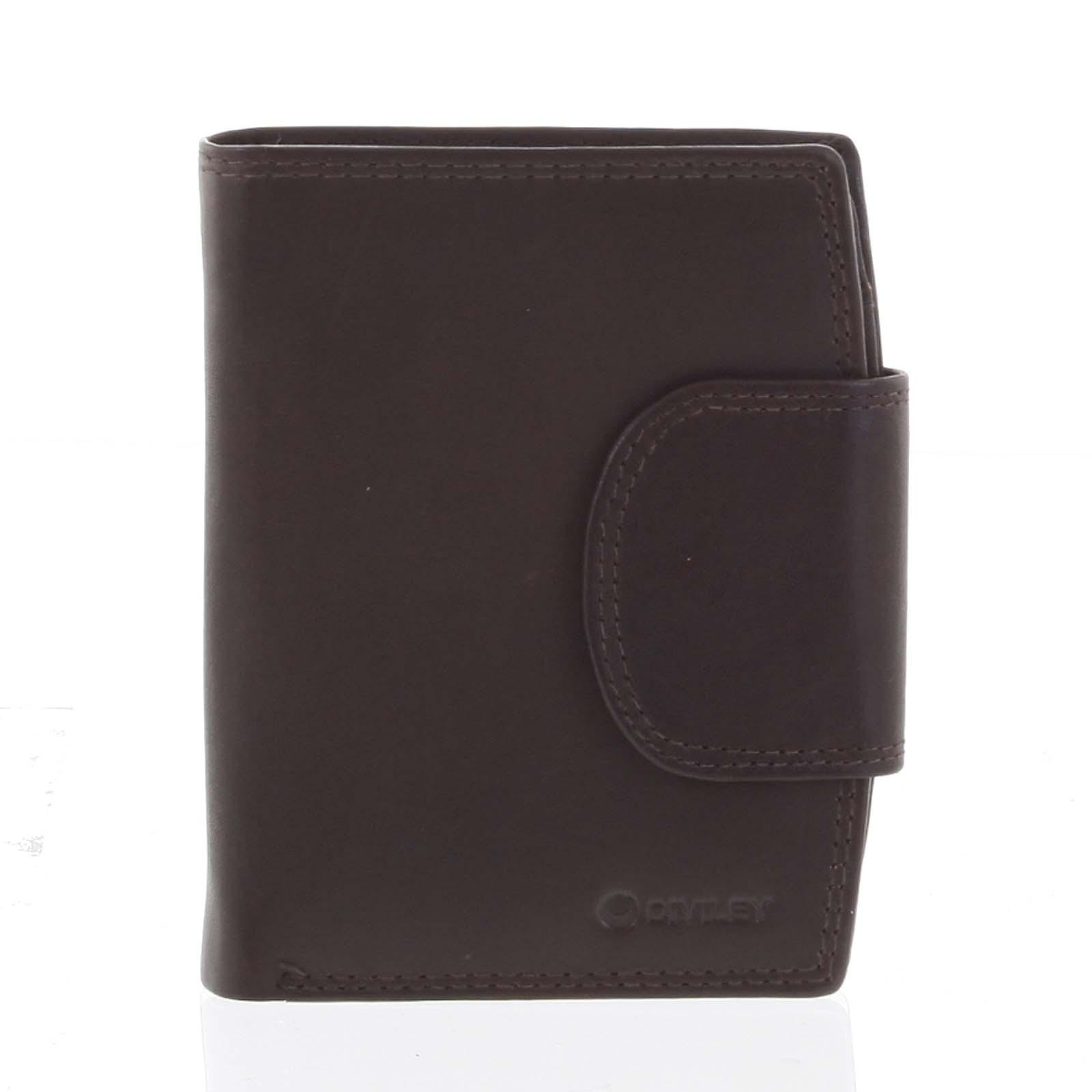 Elegantní hnědá kožená peněženka se zápinkou - Diviley Universit hnědá