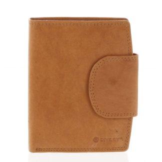 Elegantní koňaková kožená peněženka se zápinkou - Diviley Universit koňak