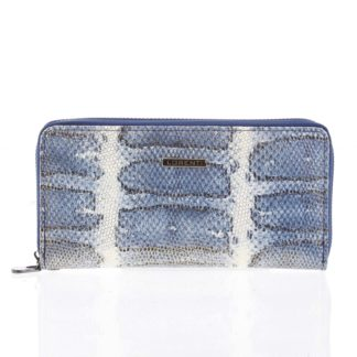 Luxusní velká hadí kožená modrá peněženka s odleskem - Lorenti 119SK modrá