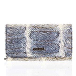 Luxusná hadia kožená modrá peňaženka s odleskom - Lorenti 110SK modrá