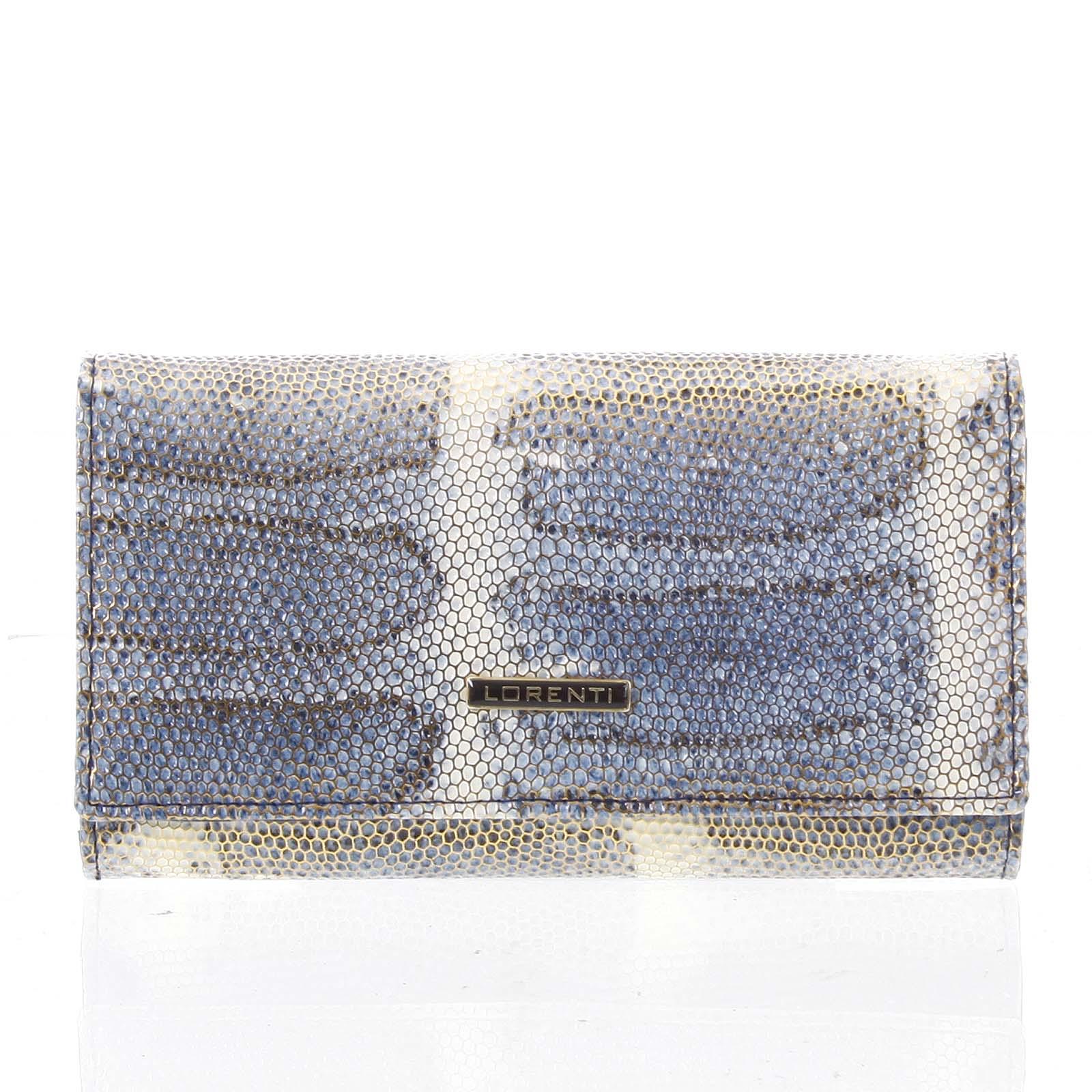 Luxusní hadí kožená modrá peněženka s odleskem - Lorenti 114SH modrá