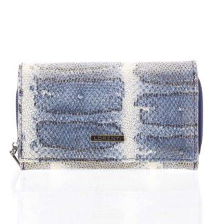 Luxusní hadí kožená modrá peněženka s odleskem - Lorenti 112SK modrá