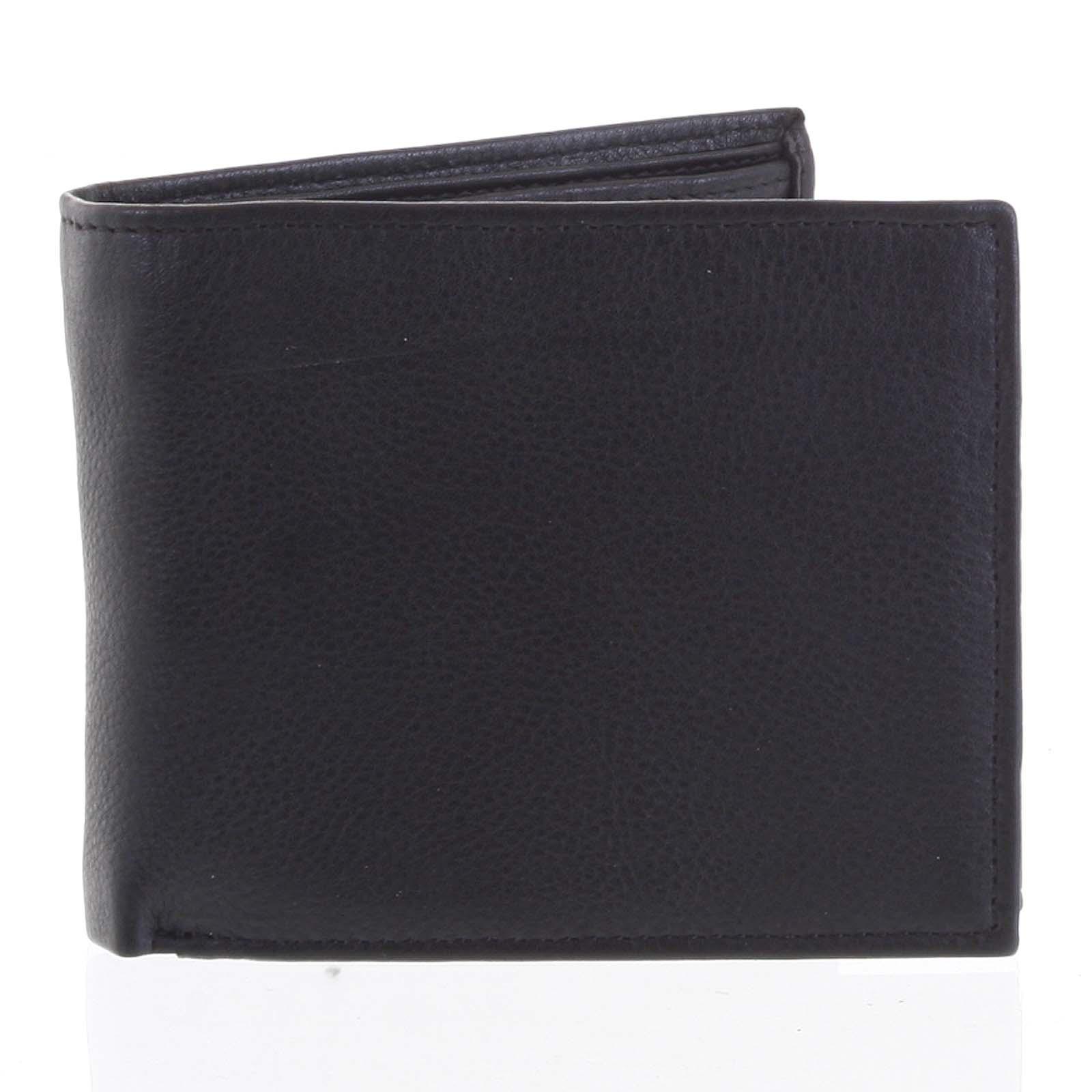 Prostorná pánská kožená černá peněženka - Tomas Vilaj černá