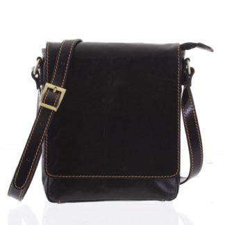 Kvalitní tmavě hnědá kožená taška přes rameno - ItalY Samqaro hnědá