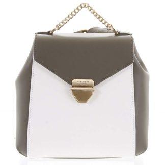 Malý luxusní kožený olivovo bílý batůžek/kabelka - Hexagona Zondra bílá