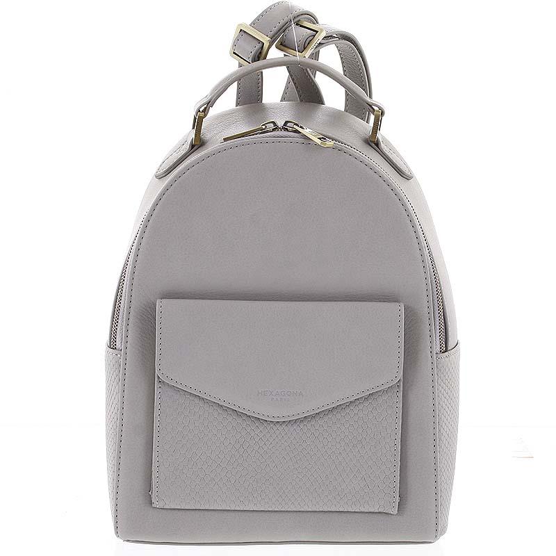 Luxusní stylový kožený dámský světle šedý batoh - Hexagona Zoilo šedá