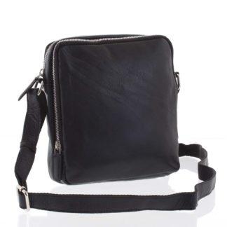 Lehká praktická kožená černá crossbody taška - Tomas Linive černá